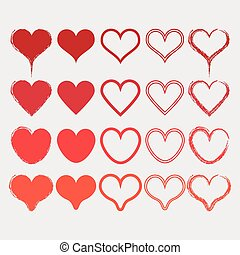 Different red heart shapes icons se
