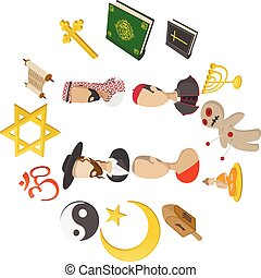 Different religions cartoon icons set isolated on white...