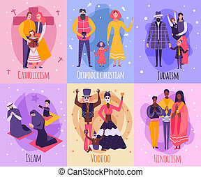 Different Religious People Family Card Set