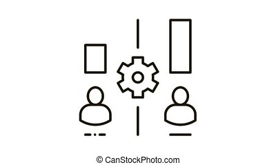 different resources of people Icon Animation. black different resources of people animated icon on white background