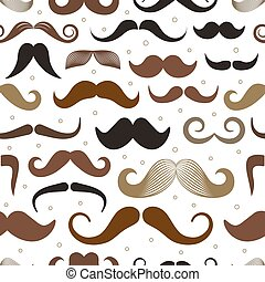Different retro style moustache seamless pattern