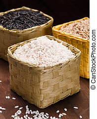 different rice in baskets on the table
