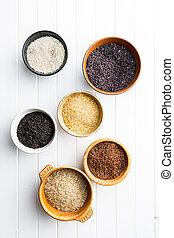 Different rice varieties.
