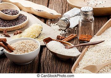 different rice varieties