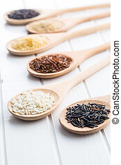 Different rice varieties. - Different rice varieties on...
