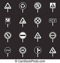 Different road signs icons set grey vector