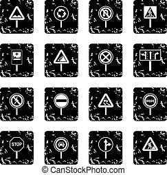 Different road signs icons set