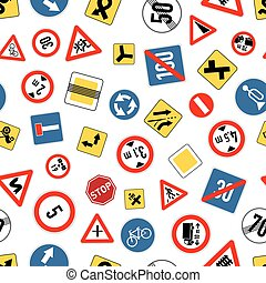 Different road signs isolated on white, seamless pattern