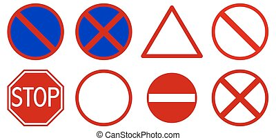 Different road signs on white background