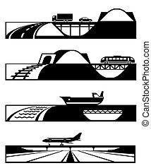 Different roads with vehicles