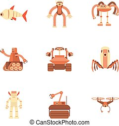 Different robot icons set, cartoon style