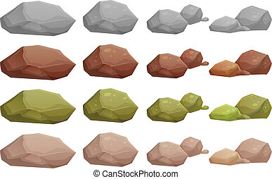 Different rocks - Illustration of the different rocks on a...
