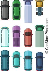 Different roofs of automobiles in the city. Top view cars. Vector illustrations in flat style