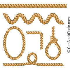 Different rope elements and forms isolated on white background