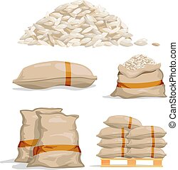 Different sacks of white rice. Food storage vector...