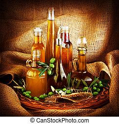 Different salad dressings, olive oils, vinegars, seasoning, ...