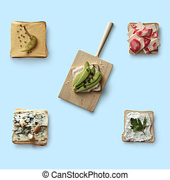 different sandwiches on a blue background