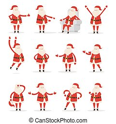 Different Santa s Movements on White Background