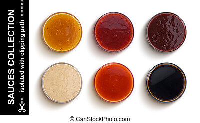 Different sauces isolated on white background, top view