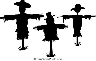 scarecrow - different scarecrows isolated on white