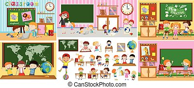 Different scenes of classrooms with kids