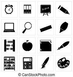 Different school icon silhouettes vector illustration set3