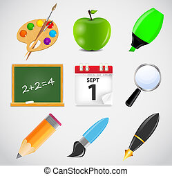 Different school icon vector illustration set1