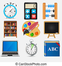 Different school icon vector illustration set2