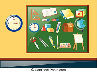 Different school objects on the board