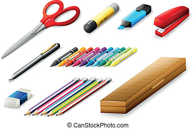 Different school supplies - Illustration of the different...