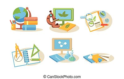 Different school supplies set, back to school concept vector Illustration on a white background
