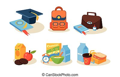 Different school supplies set, educational accessories, back to school concept vector Illustration on a white background