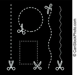 Different scissors with cut lines template. Vector elements collection