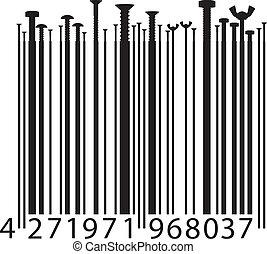 different screw on bar code. Vector illustration