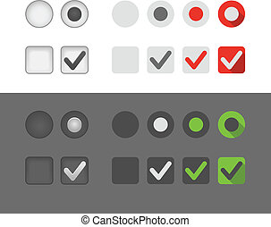Different selection graphic buttons set