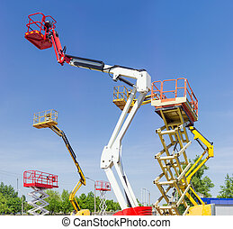 Several various self propelled articulated boom lift and