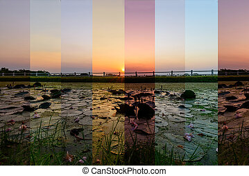 Different shade color of sunset at the lake