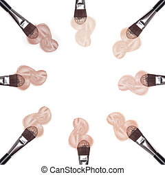 Different shades of liquid foundation