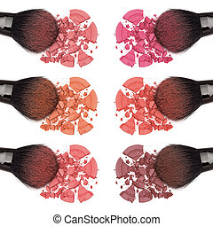 Different shades of powder blush - Closeup of crumbled...