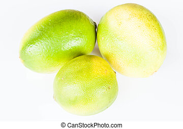 Different shape of citrus lime on white background