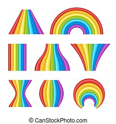 Different Shape of Rainbows Set on White Background. Vector