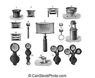 Different shapes of lens, vintage engraving