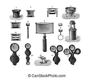 Different shapes of lens, vintage engraving