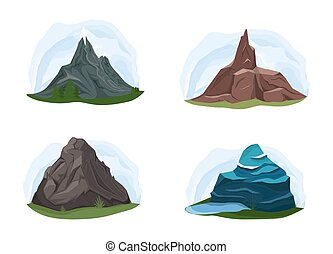 Different shapes of mountains.