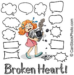 Different shapes of speech bubbles with broken heart girl