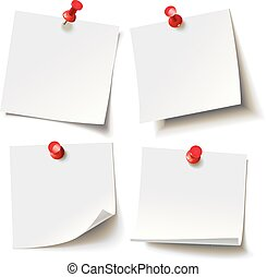 Different sheets, pinned red pushbutton, ready for your ...