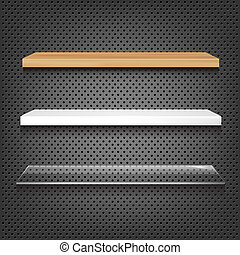 3 Shelves On Abstract Metal Background, Vector Illustration