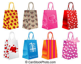 Different shopping bags - Vector illustration of different...
