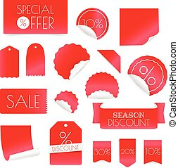 Different shopping discount banners isolated on white background. Vector clip-art