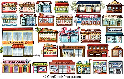 Different shops and buildings illustration